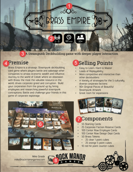 This was my first draft of Brass Empire's Sell Sheet